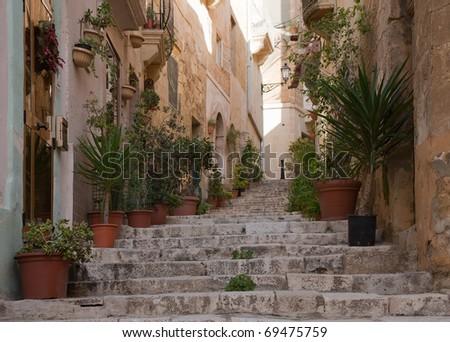 Old narrow  street of european town (Vittoriosa, Malta)