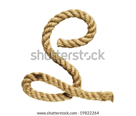 old natural fiber rope bent in the form of letter S