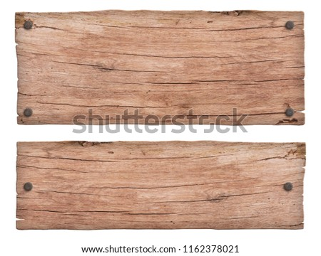 old nature wooden sign with nails #1162378021