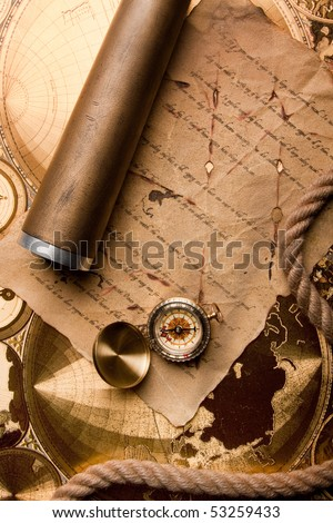 Old navigation instrument, map compass and lunette