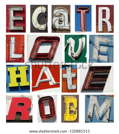 old neon letters collection