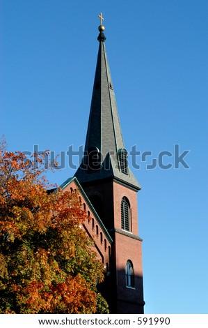 Old new england church in Boston - stock photo