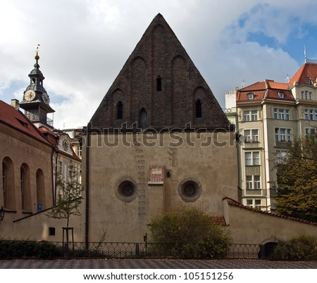 Old New Synagogue in Jewish quarter in Prague, Czech republic