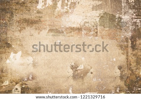 OLD NEWSPAPER BACKGROUND, DARK GRUNGY PAPER TEXTURE #1221329716
