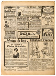 Old newspaper pages with vintage advertising and fashion. Used paper background