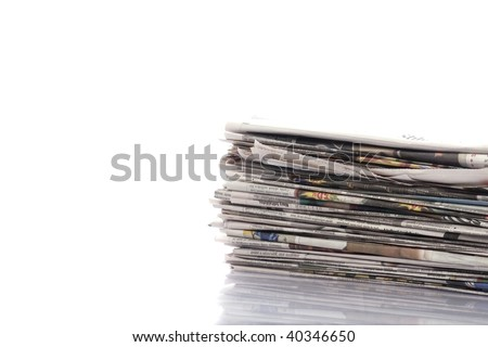 Old newspapers and magazines on a pile