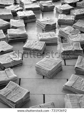 old newspapers stack