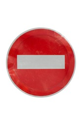 Old no traffic sign isolated on white background. The stop road sign.