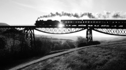Old Nostalgic Vintage Retro Technology Industrial Revolution of Antique Coal Boiler Driven Steam Train