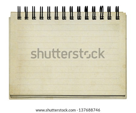 old note book on white background