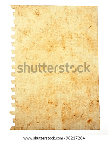Old note paper on the white background