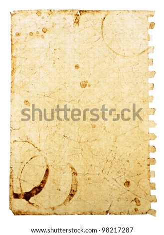 Old note paper with coffee stains on the white background