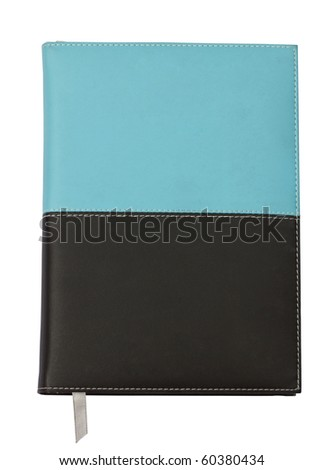Old notebook sewn up by threads isolated on a white background