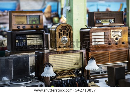 old objects for sale at a flea...