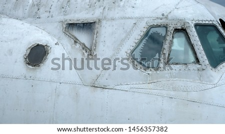 Old obsolete aircraft cockpit windows image #1456357382