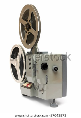old obsolete 8mm projector isolated on white - stock photo