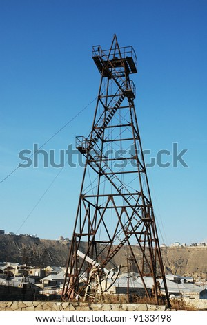 Old oil derrick in Baku, Azerbaijan