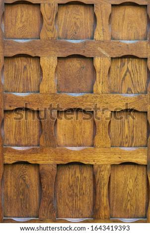 Old oiled wood door texture. stock photo