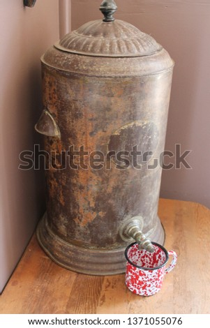 Old One-Room Schoolhouse Water Dispenser with Red Cup Underneath #1371055076