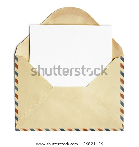 old open air post envelope  with blank paper sheet isolated on white