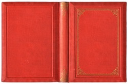 Old open book cover in red canvas and embossed golden decorations - circa 1895, isolated on white, XL size
