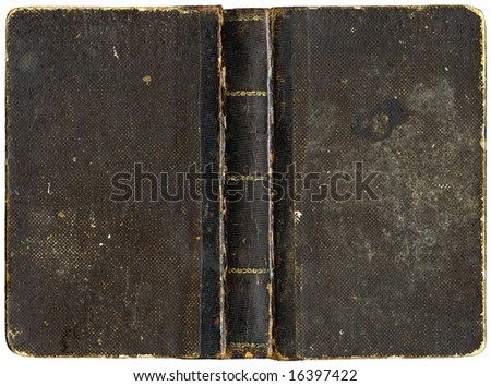 Old open book - cover with leather spin - circa 1880 - isolated on white - stock photo
