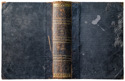 Old open book cover with worn textured grungy paper boards and wax drips, cracked embossed brown leather spine and abstract golden geometric decorations - circa 1898 - isolated on white