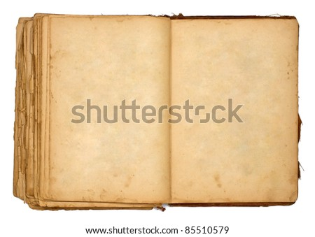 old open book isolated on white