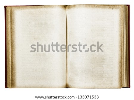 Old open book on white
