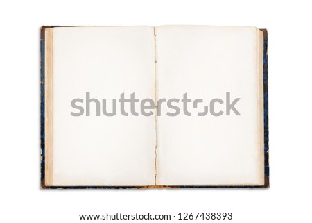 Old open book with blank pages. Isolated on white, clipping path included stock photo