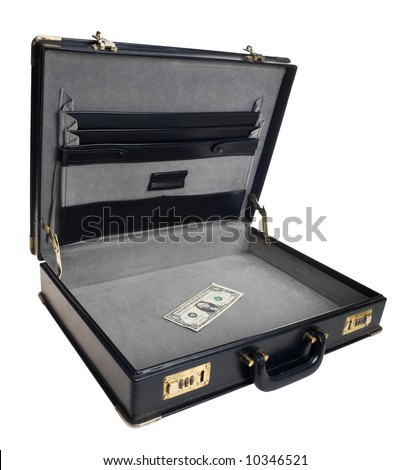 Old open business case with one dollar bill inside. Concepts like bet last dollar, small business, out of business, last chance, business drops off, ruin, bankruptcy. Isolated on white.