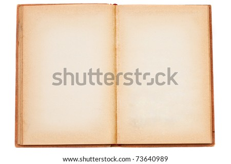Old opened book with blank pages isolated over white background