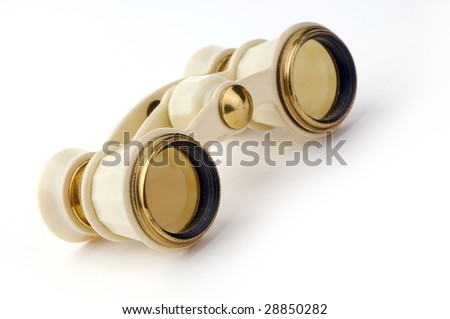 old opera glasses on a white