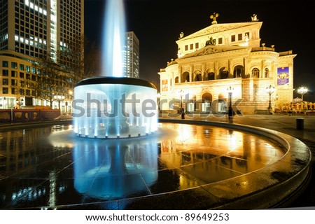 Old opera in Frankfurt at night
