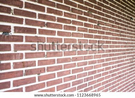 Old Orange Brick Wall Side View 1123668965