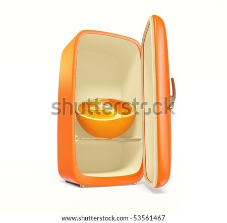 old orange fridge on white background isolated