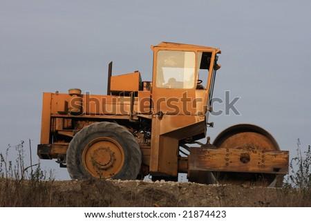 old orange steam roller image