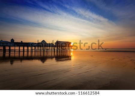 Old Orchard Beach pier at sunrise