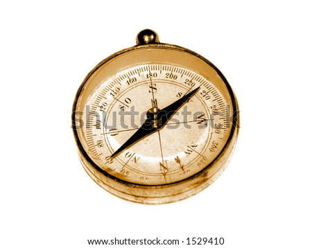 Old orientation compass on white background.