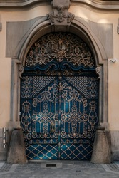 old ornamental entrance door to the tenement house in the Old Town in Wroclaw, Breslau