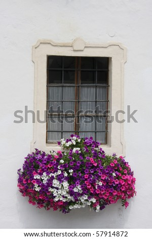 old ornamented window with flowers - stock photo