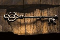 Old ornate skeleton key on rough wood background