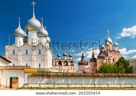 Old Orthodox church in the center of Rostov the Great Golden Ring of Russia