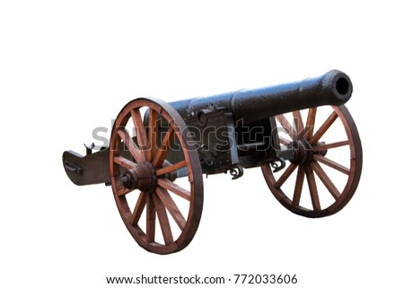 Old Ottoman Cannon On The White Background Ready To Be Used For