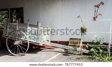 old ox cart and plants. costa...