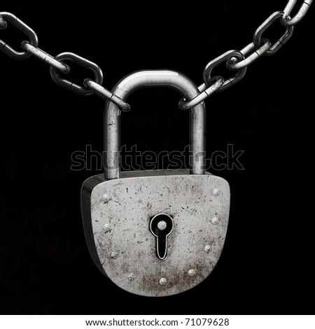 Old padlock, connecting iron chains, isolated on black background