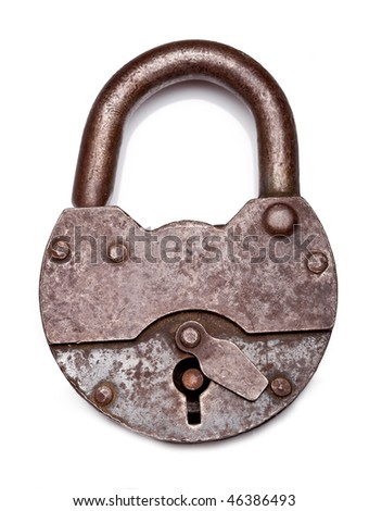 old padlock on a white background