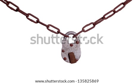 old padlock on rusty chain