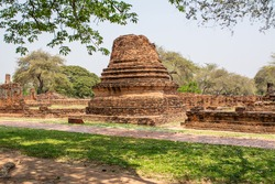 Old pagodas within Wat Phra Si Sanphet was the holiest temple in Ayutthaya that is ancient capital of Thailand