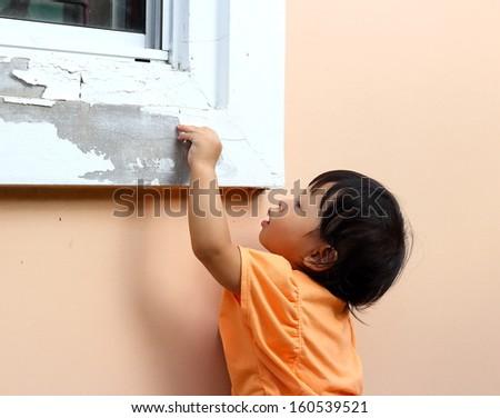 old paint peeling from window